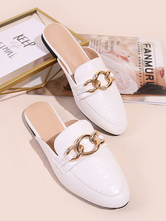 Womens Mules White PU Leather Pointed Toe Slip-On Puppy Heels Casual Flat Shoes
