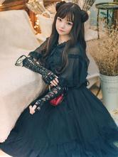 Gothic Lolita JSK Dress Gonne in maglia Lolita senza maniche in poliestere nero