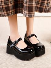 Academic Lolita Footwear Black Round Toe PU Leather Daily Casual Lolita Pumps