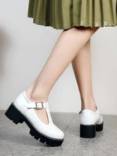 Lolitashow Academic Lolita Footwear White PU Leather Round Toe Lolita Pumps