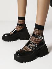 Gótico Lolita Calçado Preto Rodada dedo Do Toe Pu Couro Lace-up Daily Casual Lolita Sapatos