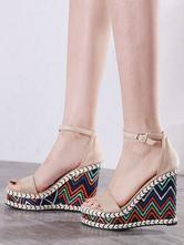Womens Khaki Ankle Strap Platform Wedge Sandals