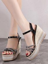 Womens Black Platform Espadrilles Wedge Sandals