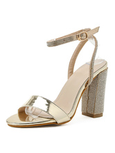 Womens Champagne Ankle Strap Chunky Heel Sandals