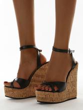 Womens Black Ankle Strap Platform Wedge Heel Sandals