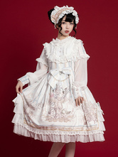 Sweet Lolita OP Dress White Long Sleeves Polyester Daily Casual Lolita One Piece Dresses