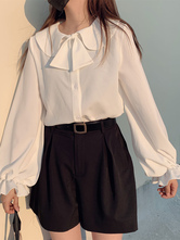 Sweet Lolita Blouses White Long Sleeves Polyester Daily Casual Lolita Shirt