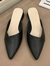 Muli neri da donna in pelle PU con punta a punta e tacco grosso scarpe slip-on
