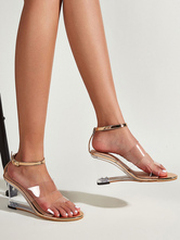 Womens Champagne Clear Ankle Strap Wedge Heel Sandals