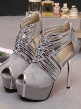 Women Grey High Heels Suede Leather Peep Toe Stiletto Heel Party Shoes Sexy Heels