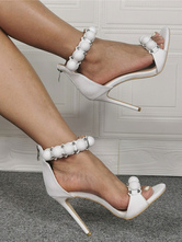 Womens White Ankle Strap Heels Stiletto Heel Sandals