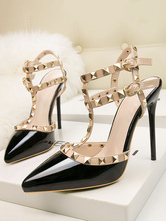 Womens T Strap Heels Rivets Pointy Toe Stiletto Heel Sandals