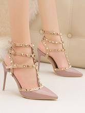 Женские босоножки на каблуке Фиолетовый на шпильке с острым носком из искусственной кожи Летние туфли с Т-образным ремешком на каблуке