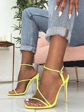 Women's Neon Yellow Strappy Stiletto Heel Sandals