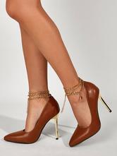 Women's Brown High Heels Ankle Chains Stiletto Heel Pumps