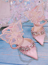 Sweet Lolita Sandals Butterfly Textile Pointed Toe Pink Customize Lolita Summer Stiletto Heels