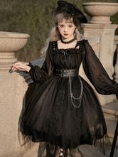 Gothic Lolita OP Dress Bows Long Sleeve Lace Ruffles Black Lolita One Piece Dress