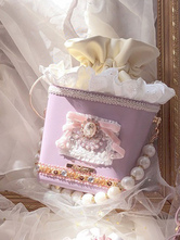 Sweet Lolita Bag Lavender PU Leather Bows Pearls PU Leather Daily Casual Lolita Handbag