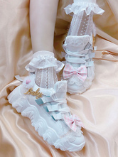 Sweet Lolita Footwear Bows Mesh Round Toe Flat White Lolita Shoes