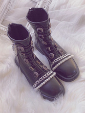 Steampunk Lolita Boots Pearls Round Toe Flat Heel Faux Leather Black Lolita Footwear