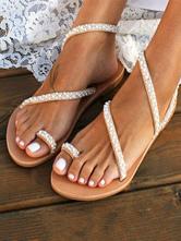 Sandali da sposa piatti con perline bianche per le donne