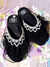Sweet Lolita Sandals Handmade Round Toe Wedge Heel RhinestonesLace Black Lolita Summer Slippers