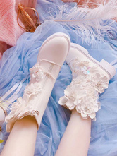 Sweet Lolita Boots Fringe Flowers Closed Toe Flat Heel Faux Leather White Lolita Footwear