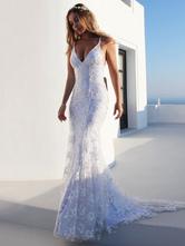Vestido de novia de sirena sexy Vestidos de novia de encaje sin espalda con cuello en V blanco