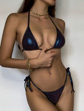 Womens Ink Blue Bikini Swimsuit Raised Waist Polyester Summer Sexy 2-Piece Set Bathing Suits