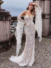 Lace Wedding Dress Mermaid Wedding Dress V Neck Long Sleeve Sexy Bridal Dresses