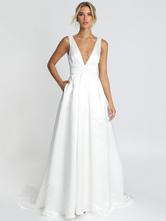 Vestido de novia simple blanco Tela satinada con cuello en V Sin mangas sin espalda A-Line Vestidos nupciales