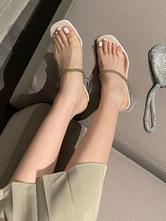 Donne Ecru White Mules Chunky Heel Square Toe PU Muli da estate in pelle PU