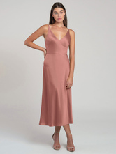 Pink Party Dress With Cocktail Tea-Length A-Line V-Neck Sleeveless Backless Zipper Elegant Summer Long Evening Dress