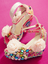 Sweet Lolita Sandals Peep Toe Wedge Heel Flowers Lace Up Hot Pink Lolita Summer Shoes