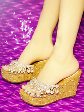 Sweet Lolita Sandals Light Apricot Fringe Pearls PU Leather Peep Toe Lolita Summer Mules
