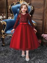 Vestidos de menina florida com decote em V de tule mangas compridas arcos em linha A até o tornozelo.