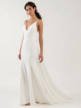 Weißes einfaches Hochzeitskleid Spaghettiträger Satin Stoff V-Ausschnitt Ärmellose Rüschen Meerjungfrau Brautkleider
