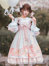 Sweet Lolita JSK Dress Pink Bowknots Sleeveless Daily Casual Lolilta Jumper Skirt
