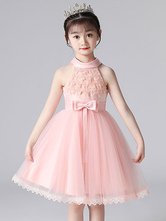 Pink Flower Girl Dresses Halter Neck Lace Sleeveless Short Princess Dress Bows Formal Kids Pageant Dresses