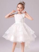 Vestidos de flor branca com arcos sem mangas com pescoço de joia formal para crianças vestidos de concurso