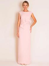 Abito da sposa rosa chiaro Abito da cerimonia nuziale con collo gioiello senza maniche con guaina