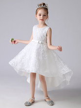 Abiti da ragazza di fiori bianchi Abito da principessa corto senza maniche con collo gioiello Archi Abiti da festa sociale per bambini