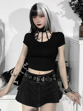 Gothic Black Blouse Short Sleeves High Collar Polyester Short Summer Top
