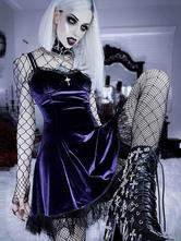 Gothic Dress Purple NetsCut OutLace Sleeveless Polyester Bodycon Gothic Sexy Slip Dress
