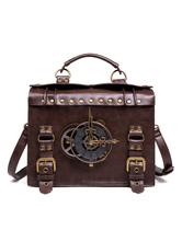 Steampunk Lolita Bag Coffee Brown PU Leather RivetsMetal Details Cross-body Bag Lolita Accessories