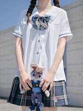 アカデミックロリータブラウズホワイトネイビーカラー半袖ロリータトップカジュアルロリータシャツ