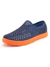 Sandali da uomo Slip-On Color Block PU Leather EVA Sole Blue Clogs Shoes