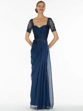 Темно-синее свадебное платье для матери без бретелек с короткими рукавами, трапециевидное шифоновое кружево со складками, длиной до пола, платья для гостей на свадьбу