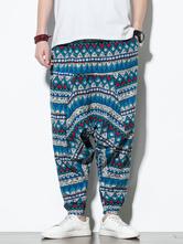 Pantalones para hombre Casual Cintura natural Harem Pantalones de hombre azul
