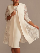 Платье для матери цвета слоновой кости, кружевное атласное пальто, пальто с половиной рукавов, оболочка без рукавов, короткие свадебные платья для гостей, наряд